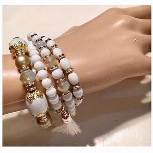 Francesca's Collection White Tassel Bracelet
